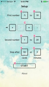 Math Cards options view (annotated)